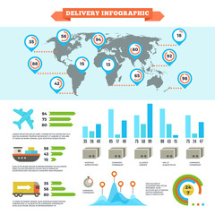 Logistics delivery shipping and cargo loading vector infographic with world map and charts