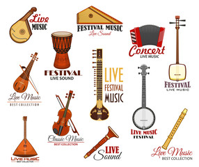 Vector icons set for live music festival concert