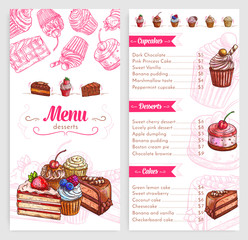 Vector pastry menu with dessert cakes and pies