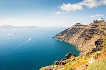 Panoramic view of Santorini island, Greece