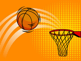 Basket ball pop art style vector illustration