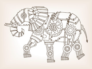 Ancient draft of mechanical elephant vector