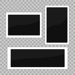 Square frame template. White plastic border on a transparent background. Vector illustration. Photorealistic Vector EPS10 Retro Photo Frame Template.