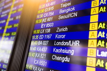 Fotobehang Luchthaven Info of flight on billboard in airport