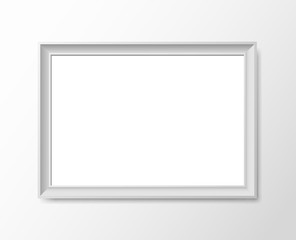Blank photo frame on the wall.Stock vector