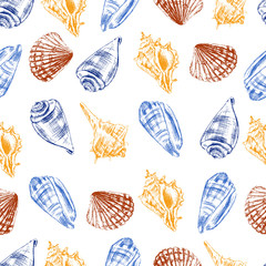 Seashells hand drawn vector graphic etching sketch isolated on white background, underwater artistic marine colorful texture, seamless pattern, design for greeting card, wallpaper, decorative textile