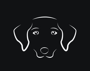 Dog face simple outline on black background, vector eps10 illustration