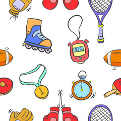Collection sport equipment object pattern style