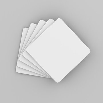 White Square coaster with rounded corner on isolated background, 3D Ilustration