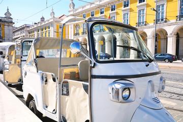 Tuk tuk on street of Lisbon in Portugal