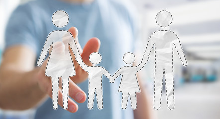 Businessman touching family interface with his finger 3D rendering