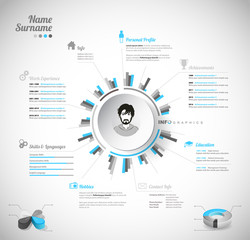 Creative, color rich CV / resume template with circle in the center and place for your personal photo.
