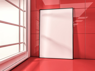 White mock up frame, modern background. 3D rendering