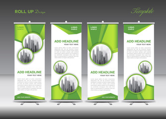 Green and white Roll Up Banner template design on polygon background, Business flyer, stand, vector