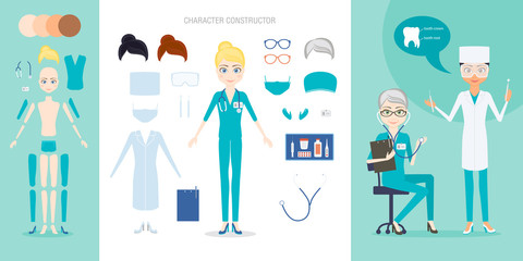 The doctor or nurse character constructor set. Cartoon vector flat style infographic illustration. Kit of medical tools and uniform items for the simulation of different situations.