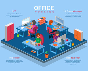 Vector flat 3d isometric business office concept illustration