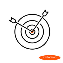 Vector linear image of two arrows sticking out of a target, a flat line icon