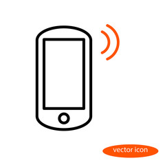 Vector linear image of smartphone and orange sound, flat line icon