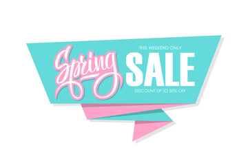 Spring Sale banner with calligraphic element. This weekend only, discount up to 50% off. Banner for business, promotion and advertising. Vector illustration.