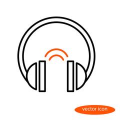 Vector linear image of headphones and orange sound phones, flat line icon