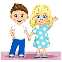 Vector cute smiling children Best Friends. Stylish kids holding hands their illustration