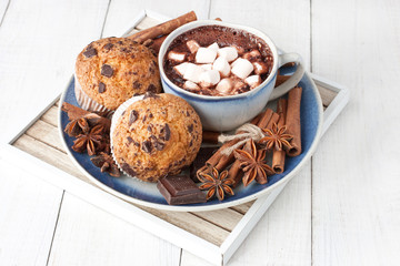 Hot cocoa drink with chocolate and homemade muffins