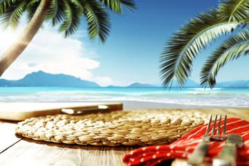 desk and beach