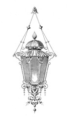 Beautiful outdoor lamp, vintage engraving