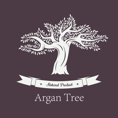Argania plant or argan tree with foliage.