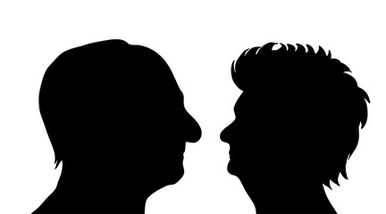 Vector silhouette of couple on white background.