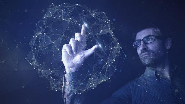 man touching digital network