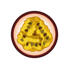 Isolated realistic colored circle round slice of purple color juicy passion fruit on white background.