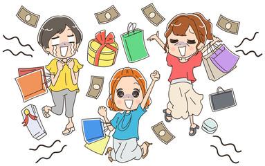 買い物依存症の女性のイラスト