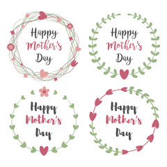 Happy Mothers Day with flowers greeting card set. Laurel, Floral wreath, Flower  Frames for wedding invitation.Mother's Day Calligraphy Vintage style on Chalkboard background with Heart.