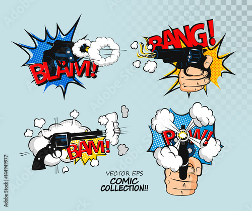 collection of multicolored comic sound effects comic bubbles design
