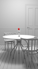 Red flower in vase on cafe table black and white photo for vintage background.