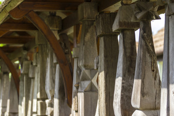 Traditional Hungarian carved wood piles