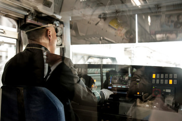 Train driver in Tokyo Japan | Public transportation monorail on March 30, 2017