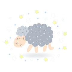 Cute hand drawn sheep in cartoon style. vector print