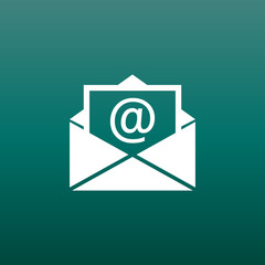 Mail envelope icon vector isolated on green background. Symbols of email flat vector illustration.