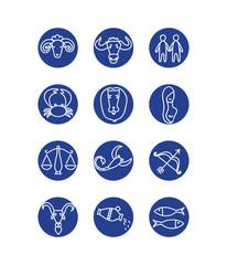 Horoscope twelve icons. Vector illustration