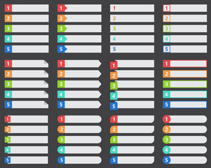 ranked or numbered list template set, vector design