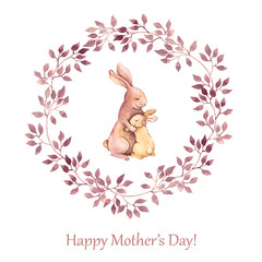 Hand painted greeting card for Mothers day with animals - mother rabbit hugging her kid. Watercolor drawing