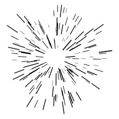 Sunburst, starburst sunshine line. Vector illustration. Icon black on white. Design element for logo, signs. Linear drawing of rays of the sun in dynamic style.