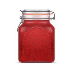 Vector Bale Square Glass Jar with Swing Top Lid filled with berry jam isolated over the white background.