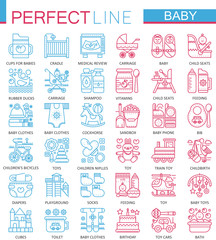 Baby care toys, kid feeding concept symbols. Perfect color thin line icons. Modern linear style illustrations set.