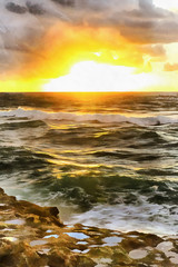 Colorful painting of sunset over Atlantic ocean shore