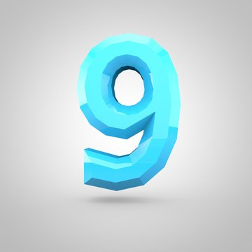 Blue low poly alphabet number 9 isolated on white background.