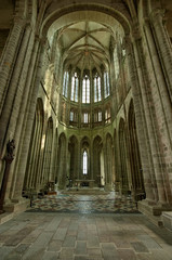 Interior design of Mont Saint-Michel abbey at day, France