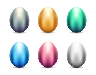 Metal eggs vector set. Shiny colorful metallic Easter eggs on white background.